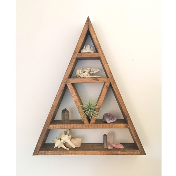 Triangle shelf crystal shelf shadow box wood shelf - Triangular bookshelf ...