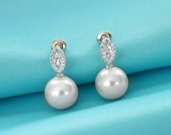 Small pearl stud earrings, Wedding pearl earrings, CZ bridal stud earrings, Bridal jewelry, Bridesmaid earrings, Wedding jewelry 11400