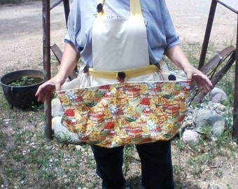 Garden Harvest Apron, Gathering Apron, Vegetable Gathering Apron, Vegetable Harvest Apron, Fruit Gathering Apron