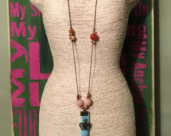 Bird knotted cord necklace with bracelet set