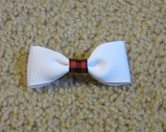 White w/red and black center Dog Bow