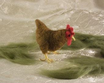 Little Red hen, Needle Felted Chicken, Hen, Wool Hen