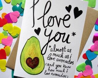 Avocado Valentines Card / Avocado Love / Anniversary Card / Birthday Card / Greetings Card