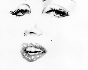 Marilyn Monroe illustration pencil, home decor, A3 art print , classic , movies