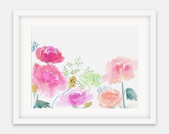 Spring Blooms {Horizontal Print}: Illustration, Floral, Watercolor