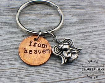 From heaven hand stamped keychain, pennies from heaven, penny keychain with angel charm, customized penny with year