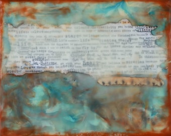 8 x 10 Be Strong - Original Encaustic Mixed Media Paining