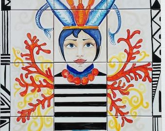 Pannello cucina ceramica di vietri mosaico mattonelle gallo - Mattonelle mosaico cucina ...