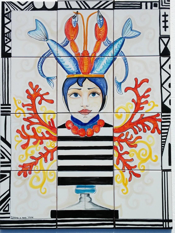 Pannello cucina ceramica di vietri mosaico mattonelle venere for Mattonelle mosaico cucina