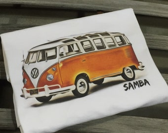 Volkswagen Bus Full front print on a 100% cotton preshrunk Tee. White shirt, Full Color print of a Samba Deluxe Microbus.