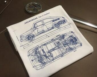 Classic Volkswagen Fastback Blueprint T-shirt.  Full front print on a 100% cotton preshrunk Tee. White shirt, navy blue print.