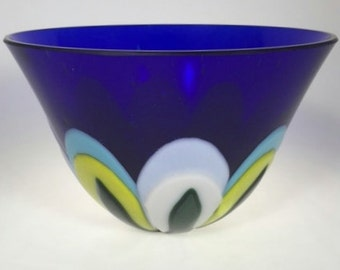 "Fused glass Flower Petal Bowl 7"" D X 4.25 H"