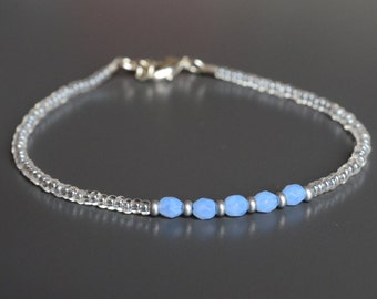 "Serenity Blue Seed Bead Bracelet, Friendship Bracelet, Stacking Bracelet: ""Sweet Serenity"""