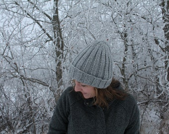 Hand Knit Ribbed Winter Hat with Cuff