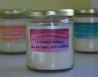 All Natural Essential Oil Hand Poured Soy Candle