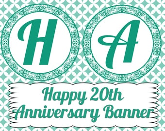 20th Anniversary Banner- INSTANT DOWNLOAD
