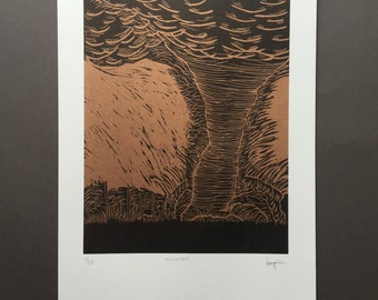 Twister - Hand-pulled Woodcut Print on Copper Ink Background