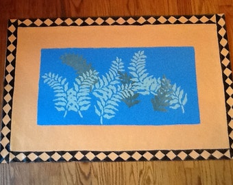 Hand painted Floor Cloth/Ferns in Blue Sky Window/Adobe background/Canvas/3' X 2'
