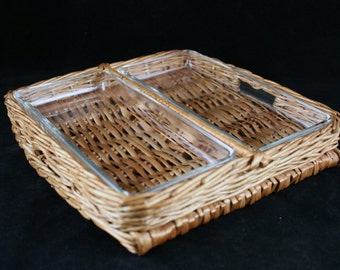 Vintage Wicker & Glass Divided Serving Tray
