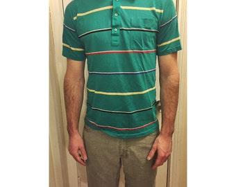 Vintage teal 80's men's collared shirt
