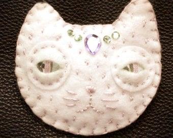 Moon Cat - Felt Brooch