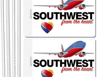 2x Southwest Airlines Luggage Tags Baggage Suitcase Travel Trip Name ID Label Tag Sets