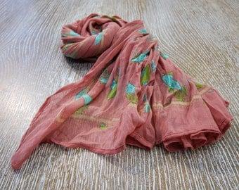 Birds Pink Cotton Scarf, Cotton Scarf, Handmade Cotton Scarf