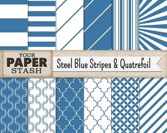 Stripe Digital Paper, Blue, Steel Blue, Stripe, Quatrefoil, Digital Paper Pack, Scrapbook Paper, Boy, Teen, Wide Stripe, Commercial Use