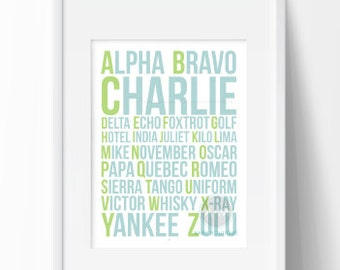Alpha Bravo Charlie Nursery Print / Blue and Green Instant Download / 11x14 / AM BABY BOUTIQUE