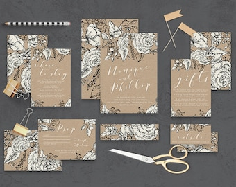 "Printable Wedding Invitation Suite ""Swoon"" - Printable DIY Invite, Affordable Wedding Invitation"