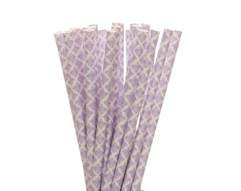 Paper Straws, Lavendar Damask Paper Straws, Lavendar Wedding Straw, Spring Party Decor, Purple Bridal Shower Supplies, Damask Drinking Straw