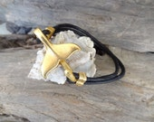 Whale Tail Bracelet, Black Leather Bracelet, Unisex Jewelry, Gold Whale Tail Clasp Bracelet, Cuff Bracelet, Father's Day Gifts, Gift For Her