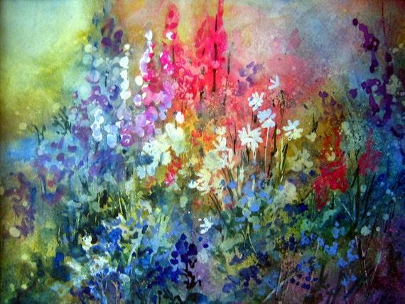 Blue Floral - signed print - Bonnie White - watercolor - floral - floral art - flowers - garden - art