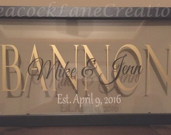 Glass Frame,Personalized, Backless Frame,Custom Wedding Gift with established date, Home Decor