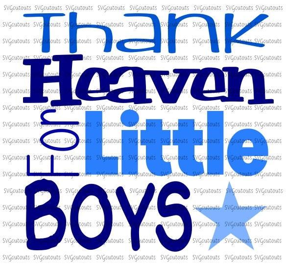 Thank Heaven For Little Boys Block Design Svg Eps Dxf