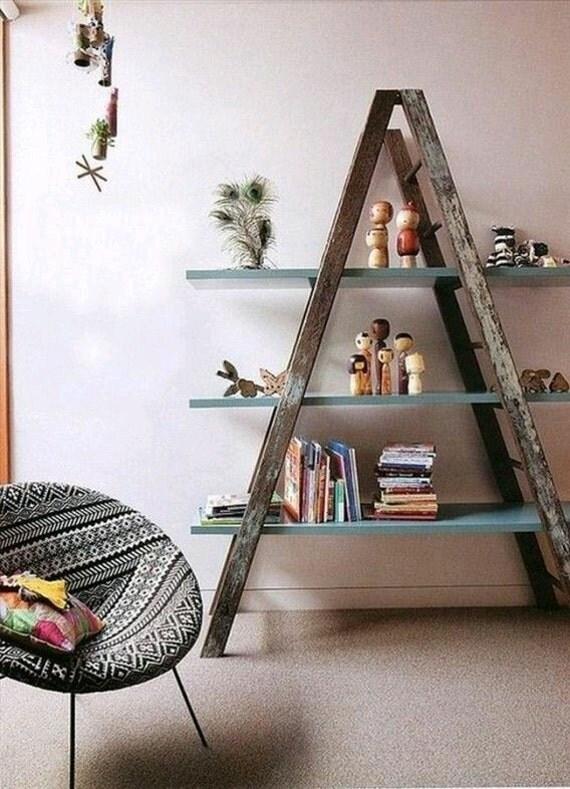 Rustic ladder shelf by JPWoodTablesandMore on Etsy