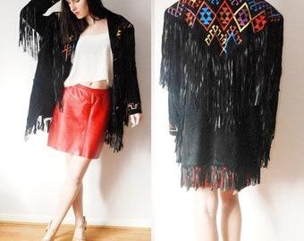 vintage Erez Levy ~ Southwestern Aztec tribal ethnic~ suede leather tassel fringe jacket ~M L