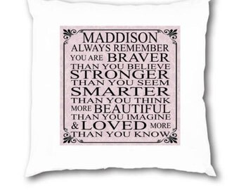 Personalised Braver than you think Inspirational Quotation Cushion COVER Sister Daughter Mum Auntie Best Friend Birthday Gift Present