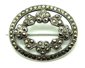 Victorian c.1837 Silver Pin | Antique Marcasite Sterling Silver Flower Brooch | FREE DELIVERY