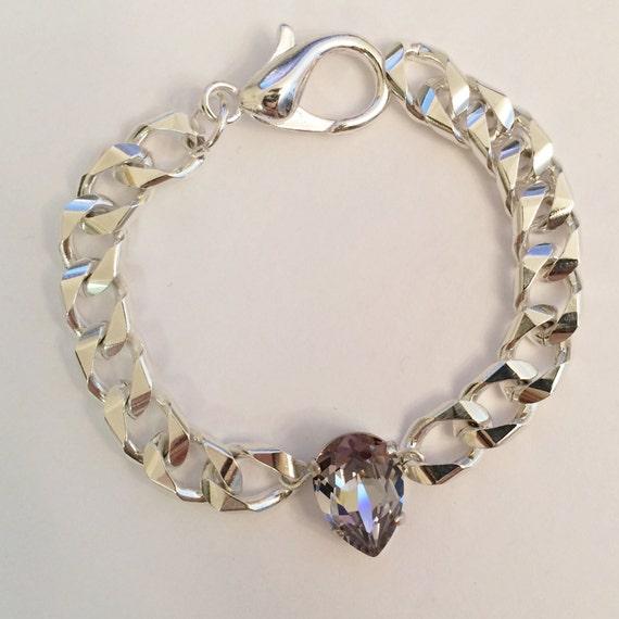 lustre pear swarovski crystal stacking bracelet in smoky mauve. Black Bedroom Furniture Sets. Home Design Ideas