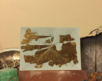 Gold leaf and string blank card