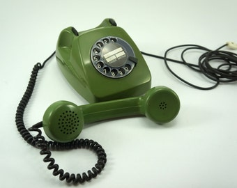 Vintage rotary phone, rotary phone green, working rotary phone, desk phone, Vintage telephone , 70's telephone, Fully functional Telephone