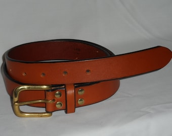 leather belt with a brass buckle
