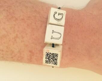 QR Code Bracelet Letter Charms