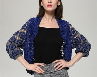 Crochet Shrug Wedding Bridal Bolero 3/4 Sleeve Crochet Cardigan Sweater