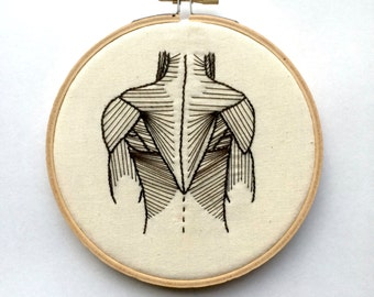 Anatomical Embroidery Hoop Art | Back Muscles | Science Gift | Medical Gift | Medical decor.