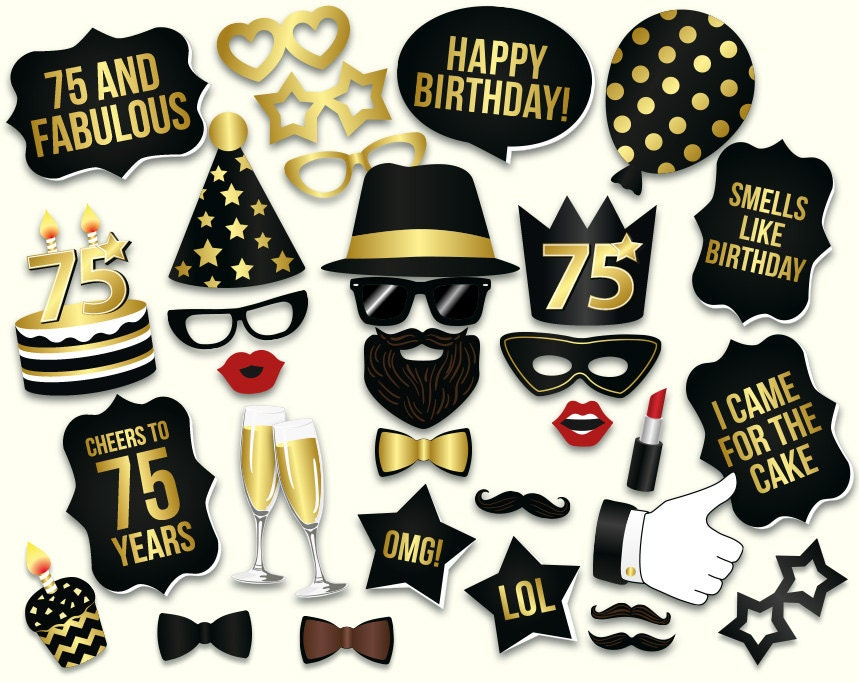 75th birthday photo booth props printable pdf black and gold for 75th birthday decoration ideas