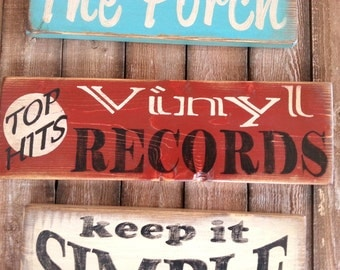 Top Hits Vinyl Records Vintage Retro Wood Sign Display by Your Favorite Records Record
