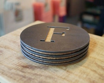 "Round Metal Coaster - Initial ""F"""