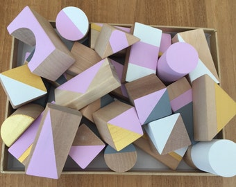 30 Wooden blocks, hand painted, Eco, geometric, modern baby